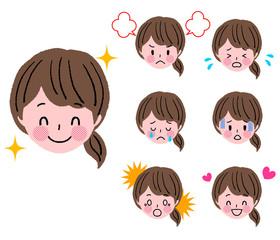 若い女性 顔 表情 セット