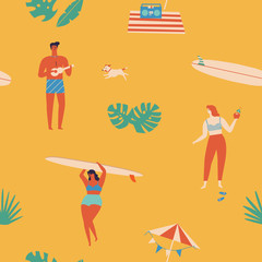 Summer time beach fun seamless pattern in vector.