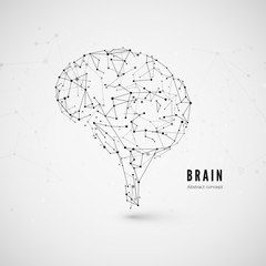 Technology concept, particles and lines. Polygonal brain shape of an artificial intelligence with lines and  dots. Vector illustration