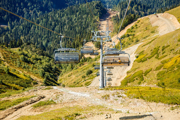 Picture of funicular at foot of mountains