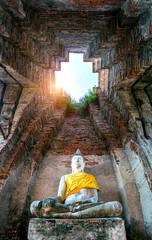 Wall Mural - Buddha statue at Ayutthaya Historical Park, Thailand.