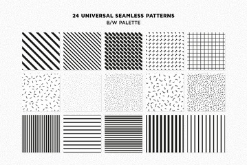 Universal vector seamless patterns set of simple elements