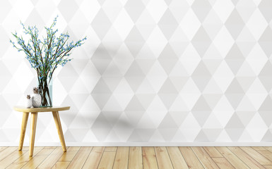 Flower vase over white paneling wall interior background 3d rendering