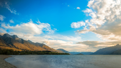 Sunset at the Northern end of Lake Wakatipu at Glenorchy in New Zealand, South Island.