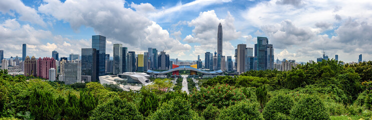 High resolution wide panorama of  skyline of Shenzhen, china