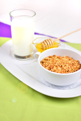 A concept of a healthy fitness breakfast. Natural milk, honey and plate with a muesli. Organic natural food on a table.
