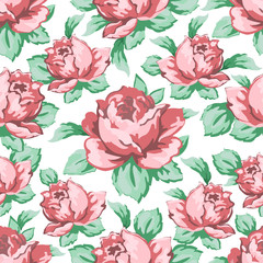Rose flower hand drawing seamless pattern, vector floral background, floral embroidery ornament. Drawn buds pink rose flower and leaves on white backdrop. For fabric design, wallpapers, decorating