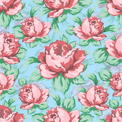Rose flower hand drawing seamless pattern, vector floral background, floral embroidery ornament. Drawn buds pink rose flower and leaves on blue backdrop. For fabric design, wallpapers, decorating