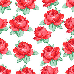 Rose flower hand drawing seamless pattern, vector floral background, floral embroidery ornament. Drawn buds red rose flower and leaves on white backdrop. For fabric design, wallpapers, decorating