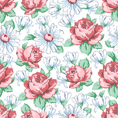 Rose and chamomile flower hand drawing seamless pattern, vector floral background, floral embroidery ornament. Drawn buds pink rose flower and white chamomile on white backdrop. For fabric design