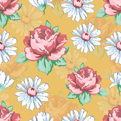 Rose and chamomile flower hand drawing seamless pattern, vector floral background, floral embroidery ornament. Drawn buds pink rose flower and white chamomile on yellow backdrop. For fabric design