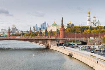 Kremlin, Embankment of Moscow River in Moscow, Russia