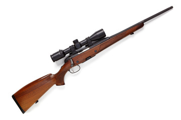 Poster de jardin Chasse Hunting rifle isolated on white background.