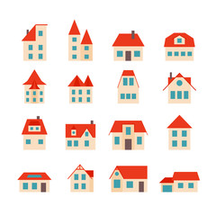 Set of simple houses with orange roof.