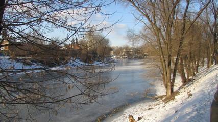 Winter city river.