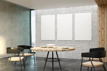 Modern loft interior with poster