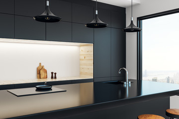 Wall Mural - Minimalistic kitchen studio interior
