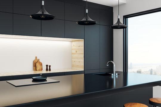 Minimalistic kitchen studio interior