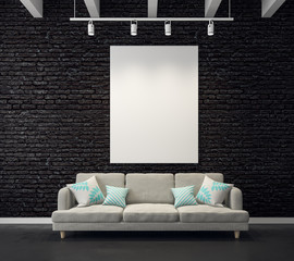 Brick living room with empty poster