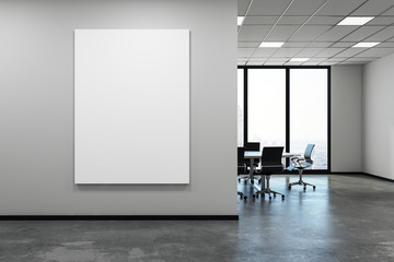 Contemporary meeting room with empty banner