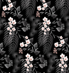 Tropical seamless pattern with orchid flowers.