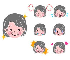 高齢女性 顔 表情 セット