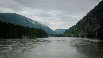 River between mountains in the Russia