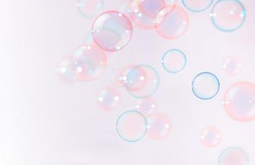 Fototapeta Abstract, Beautiful pink soap bubbles floating background. obraz