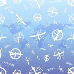 Zika virus pattern wallpapers with World Map. Zika virus mosquito bite illustration. Scientific design.