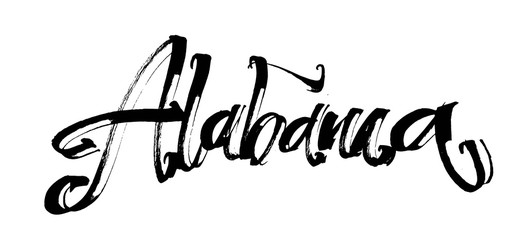 Alabama. Modern Calligraphy Hand Lettering for Serigraphy Print