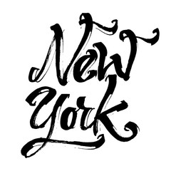 New York. Modern Calligraphy Hand Lettering for Serigraphy Print