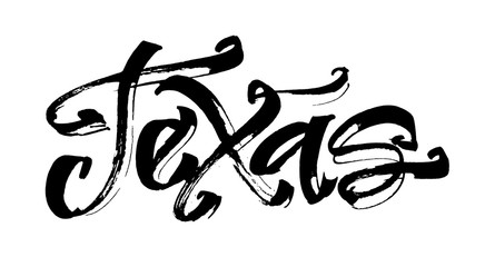 Texas. Modern Calligraphy Hand Lettering for Serigraphy Print