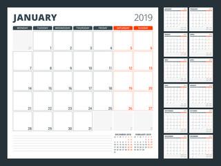Calendar planner for 2019 year. Stationery design template. Week starts on Monday. Set of 12 months. Vector illustration