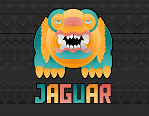 illustración indígena de un jaguar en vector