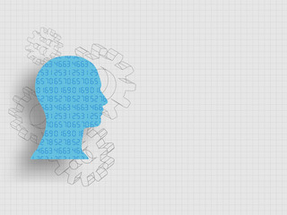 Set of numbers in human head model in front of 3d gears represent concept of design thinking, innovation and investment banking. Business and idea concept. Technology background. Vector illustration