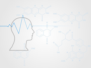 Human head model with heart wave sign on chemistry formula as background represent health and medical concept. Technology background. Vector illustration.