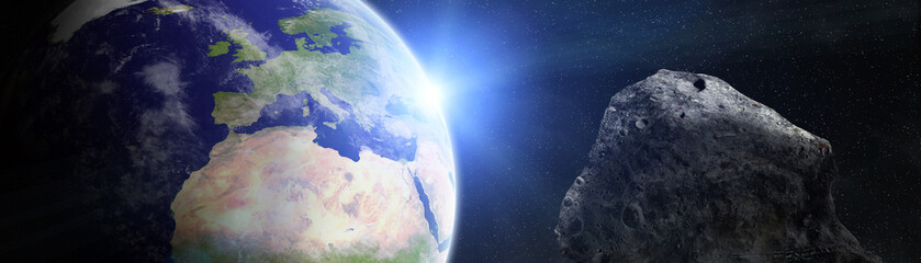 Panoramic view of planet Earth with asteroids flying close 3D rendering elements of this image furnished by NASA