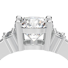 3D illustration isolated close up white gold or silver decorative solitaire engagement diamond ring