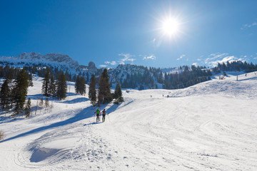 Ski tourer on the way up to Mountain Kampenwand