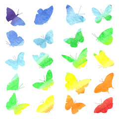 Watercolor collection of silhouettes of butterflies painted in d