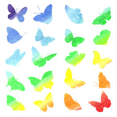 Watercolor collection of silhouettes of butterflies painted in r