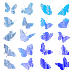 Collection of watercolor silhouettes of a butterfly in blue tone