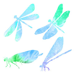 Abstract collection of silhouettes of a blue dragonfly in waterc