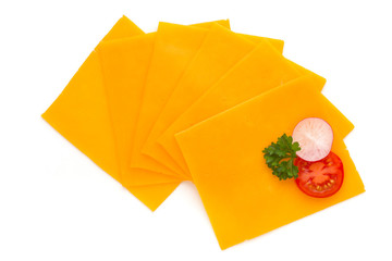 Cheddar cheese slice isolated on the white background.