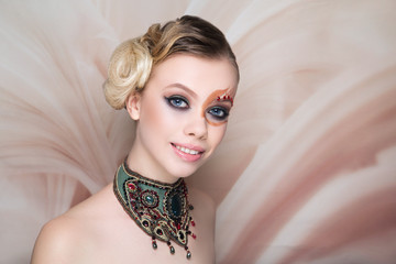 woman beauty face art make up