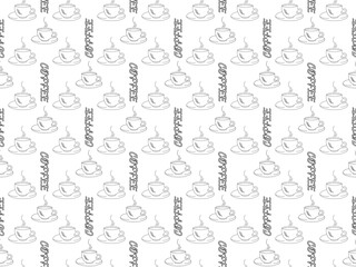 White background black outline of coffee cups and word coffee, seamless pattern