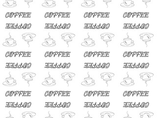 Seamless pattern on white background black outline coffee cups and the word coffee