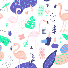 Childish Summer Seamless Pattern with Flamingo and Tropical Plants. Exotic Background for Fabric Textile, Wallpaper, Wrapping Paper. Vector illustration