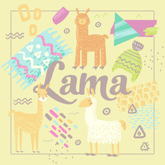 Wildlife Lamas Design. Hand Drawn Abstract Childish Background with Alpacas for Decoration. Vector illustration