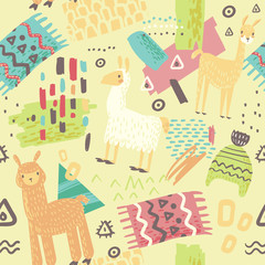 Lamas Seamless Pattern. Hand Drawn Abstract Background with Alpaca for Fabric Textile, Wrapping Paper, Decoration. Vector illustration